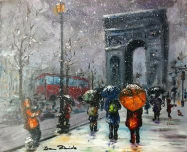 Paris, touristes sous la neige, Arc de Triomphe