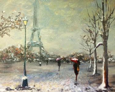 Paris, le Champs de Mars sous la neige..