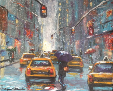 New York City, yellows cabs under snow...